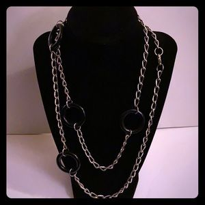 Mod and Trendy Black and Silver Necklace